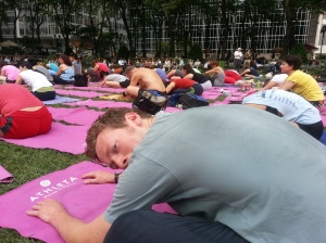 Yoga in the park with Hugh and about a thosand other people