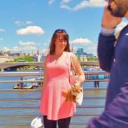 Happy girl on bridge