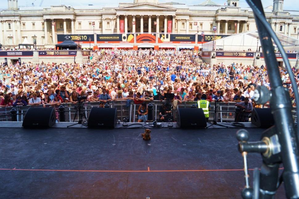 On Stage at Trafalgar Square