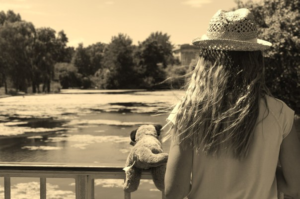 Girl on Bridge Sepia