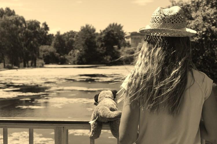 Girl on Bridge Sepia