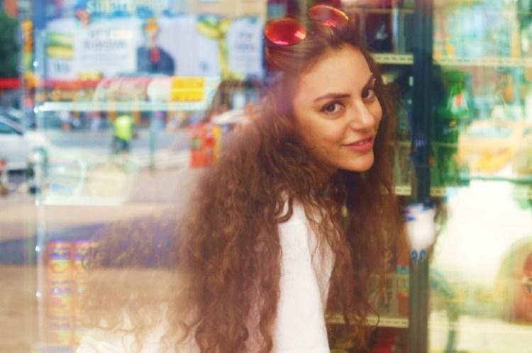 Faris through the shop window